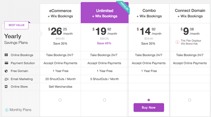 wix bookings prices