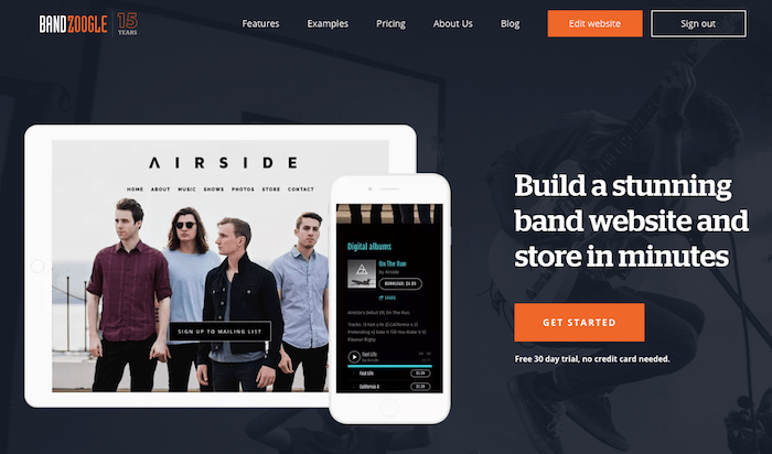 Create a band website with Bandzoogle