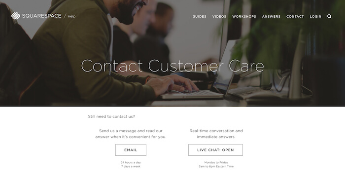 Squarespace support center