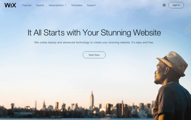 wix - free website building software