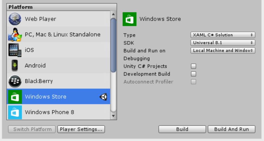 Unity export window