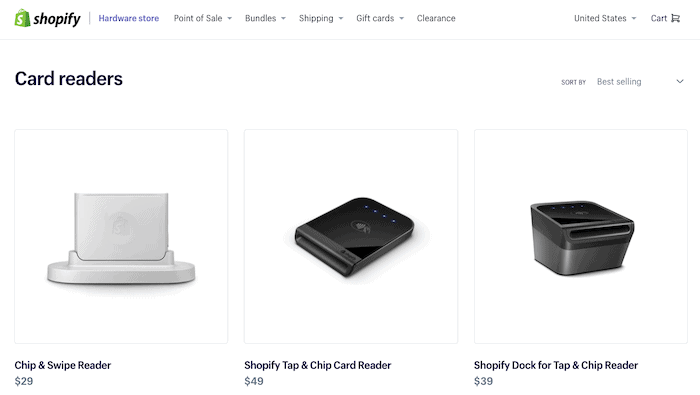 Shopify card readers
