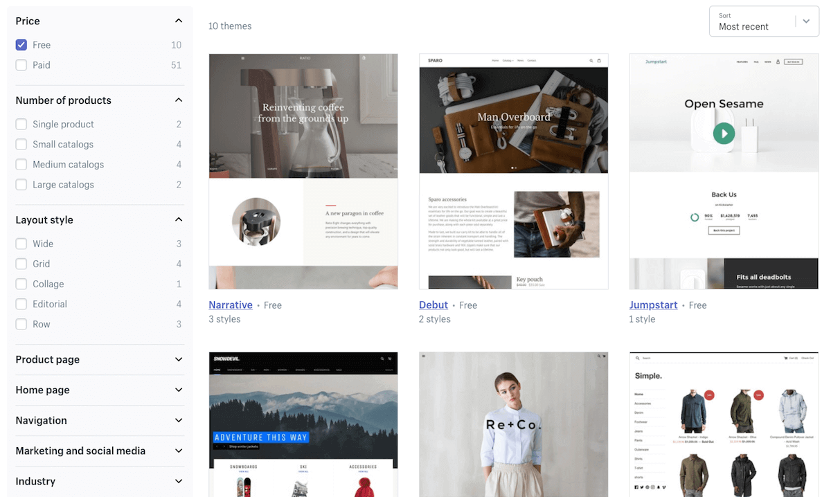 Shopify's free templates