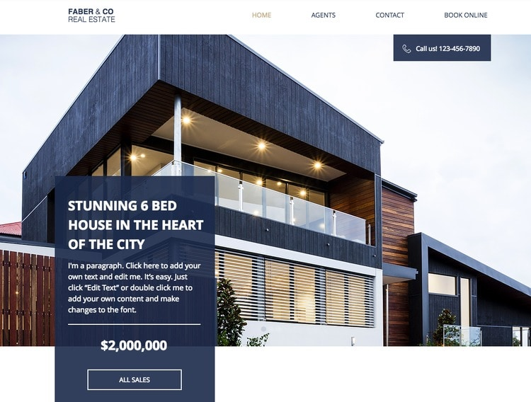 realestate company wix template