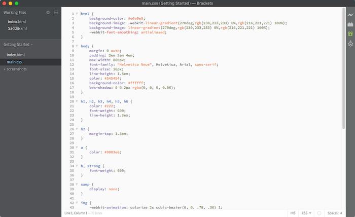 brackets programa editar codigo