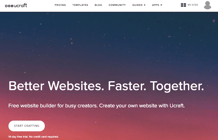 Ucraft is a website builder for artists