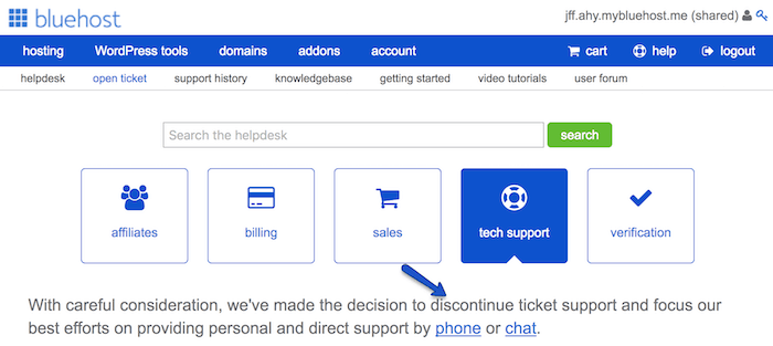 bluehost support section
