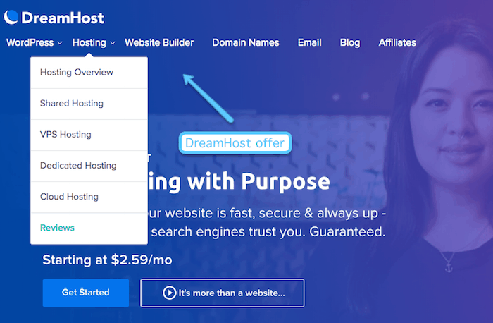 dreamhost offered products