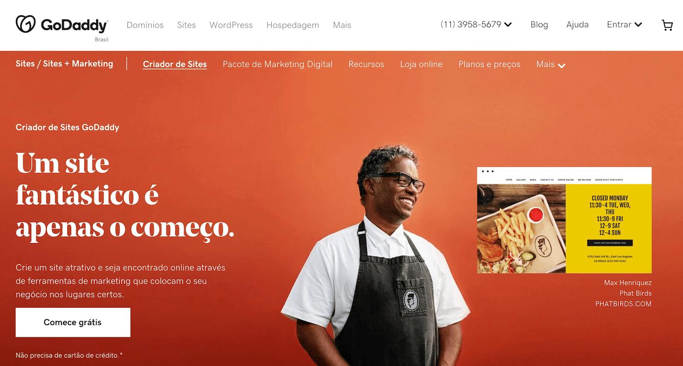 Criar site gratis com GoDaddy