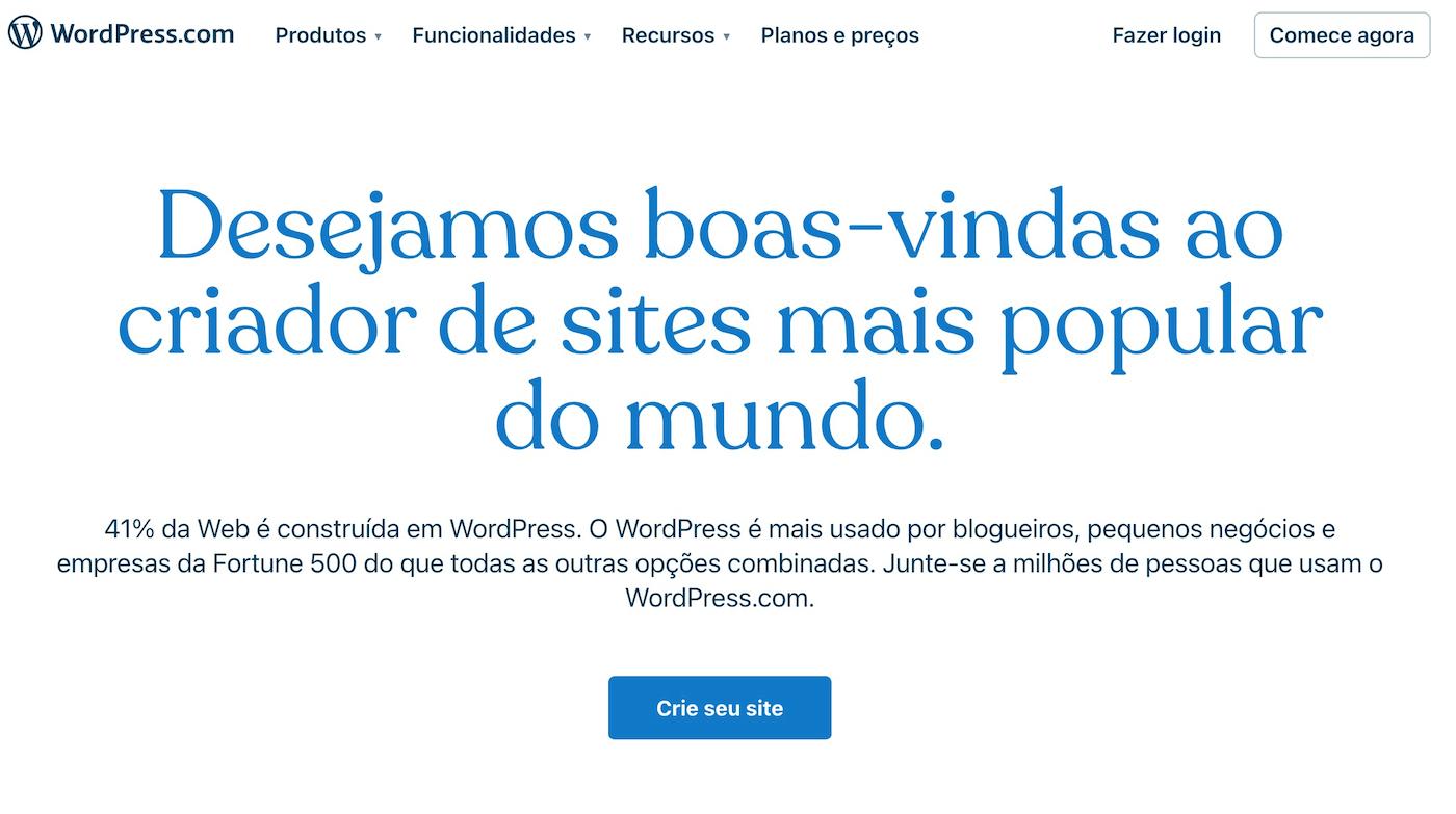 WordPress criar seu site gratis